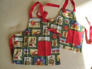Aprons in Christmas Fabric