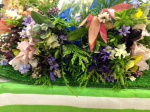 hand tied posies from home grown garden plants and flowers