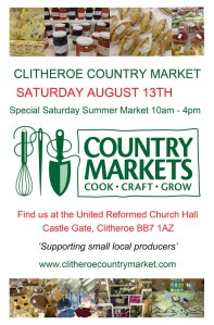Clitheroe Country Market on Saturday 13th September - lots of home made produce for sale