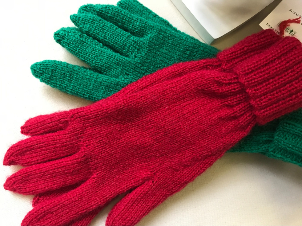 Hand knitted gloves for Clitheroe Country Market